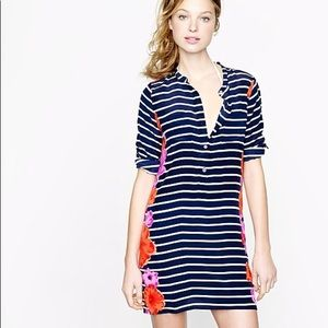 J Crew Floral Navy Striped Swim Cover Up